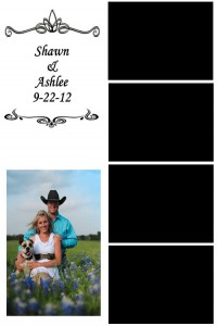 Four picture photo strip with logo and wedding portrait